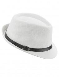 Sombrero borsalino blanco con hebilla adulto