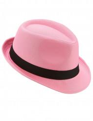 Sombrero borsalino rosa cinta negra adulto
