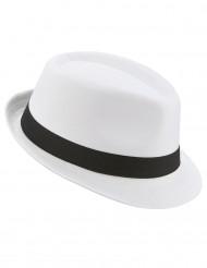 Sombrero borsalino blanco banda negra adulto