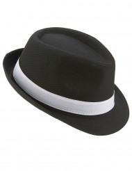 Sombrero borsalino negro banda blanca adulto