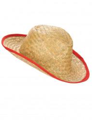 Sombrero de cowboy contorno rojo adulto