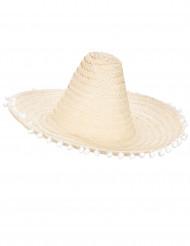 Sombrero blanco crudo pompones adulto