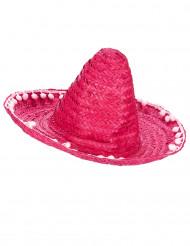 Sombrero rosa pompones adulto