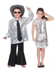 Disfraz de pareja disco plateado niños