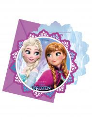 6 Tarjetas de invitación con sobres copos de nieve Frozen™