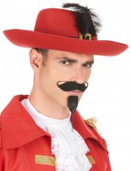 Sombrero mosquetero banda roja y pluma negra adulto