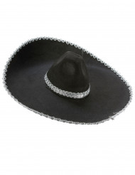 Sombrero negro reborde plateado adulto