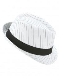 Sombrero borsalino blanco con rayas negras