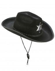 Sombrero Sherif negro adulto