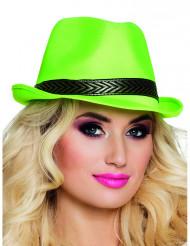 Sombrero borsalino trilby verde fluorescente adulto