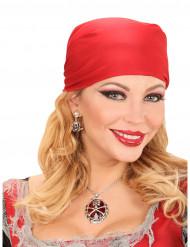 Collar piedra preciosa rojo pirata mujer