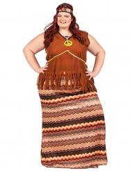Disfraz vestido largo hippie mujer