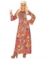 Disfraz hippie vestido largo multicolor mujer