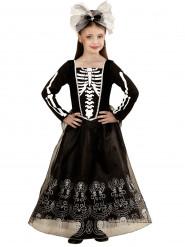 Disfraz de esqueleto falda larga niña Halloween