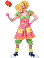 Disfraz payaso fluo lunares mujer