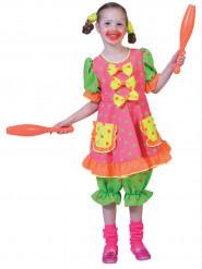 Disfraz payaso fluo lunares niña