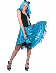Falda disco azul con lentejuelas mujer