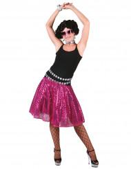 Falda disco rosa lentejuelas mujer