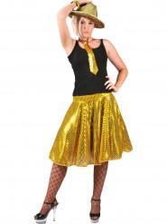 Falda disco dorado lentejuelas mujer