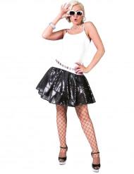 Falda disco negra lentejuelas mujer