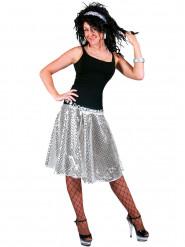 Falda disco plateada lentejuelas mujer