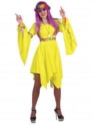 Disfraz de hippie amarillo fluo mujer
