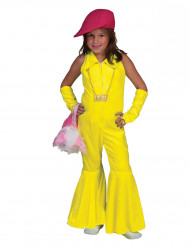 Disfraz disco amarillo fluo niña