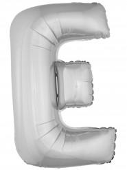 Globo aluminio gigante letra E plateado 1m