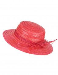 Sombrero de paja vintage rojo mujer