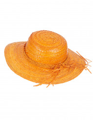 Sombrero de paja vintage naranja mujer