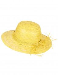 Sombrero de paja vintage amarillo mujer