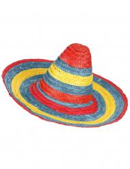 Sombrero mexicano rojo, verde, amarillo adulto