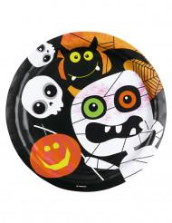 8 Platos de cartón monstruos Halloween