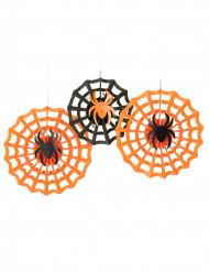 3 Decoraciones rosetones arañas Halloween