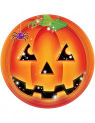 8 Platos de calabaza Halloween 23 cm