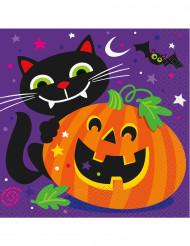 16 Servilletas de papel calabaza y compañía Halloween