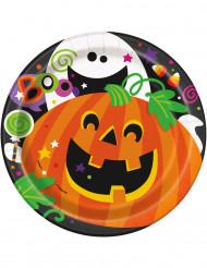 8 Platos de cartón calabaza Halloween 18 cm