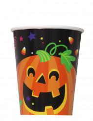 8 Vasos de cartón calabaza y compañía Halloween 25 cl