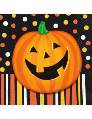 16 Servilletas de papel calabaza Halloween 33 cm