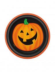 8 Platos pequeños cartón calabaza sonriente Halloween 18 cm