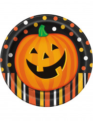 8 Platos de cartón calabaza sonriente Halloween 23 cm