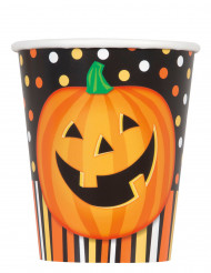 8 Vasos de cartón calabaza sonriente Halloween