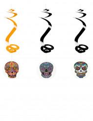 3 Decoraciones colgantes espiral Día de los Muertos 60 cm
