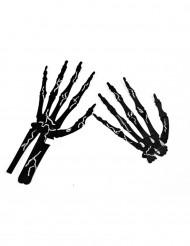 6 Manos de esqueleto negro con tiza Halloween