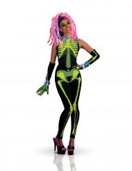 Disfraz de esqueleto Techno girl mujer