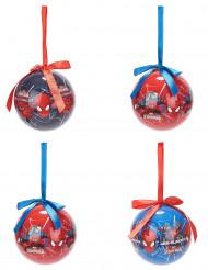 4 Bolas de Spiderman™ 7,5 cm Navidad