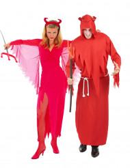 Disfraz de pareja diablo rojo Halloween