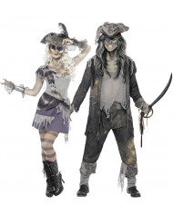 Disfraz de pareja pirata fantasma Halloween
