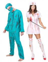 Disfraz de pareja zombie cirujano y enfermera Halloween
