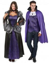 Disfraz de pareja vampiros violeta Halloween